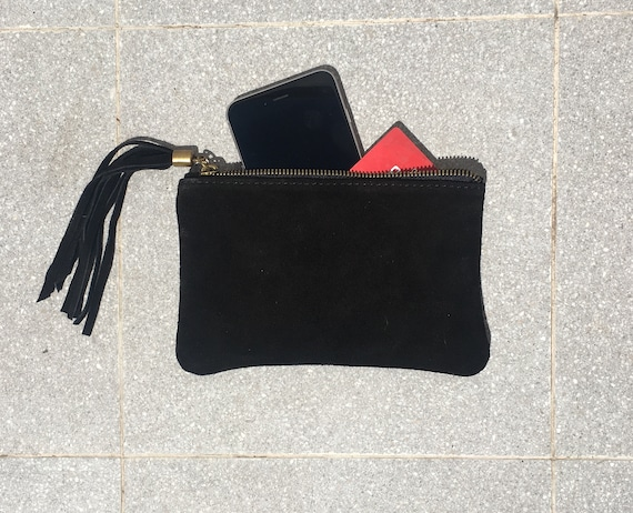 Small genuine suede leather BAG in BLACK, iPhone case, Cosmetic bag, Make up bag,Purse in BLACK, soft leather.