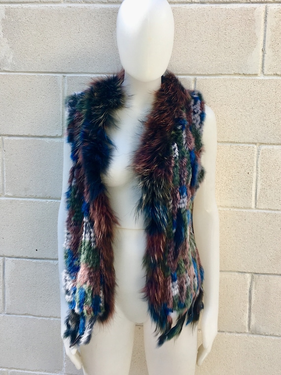 Rabbit fur vest, knitted fur waistcoat,colorful boho vest,  soft fur vest. Genuine fur vest in cobalt blue, brown, burgundy, green and gray