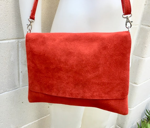 Cross body bag. BOHO suede leather bag in  RED.  Soft genuine suede leather. Crossover, messenger bag in suede. Bag for tablet or books.