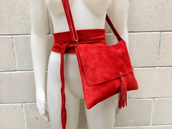 BOHO suede leather bag and obi belt in RED.  Soft natural leather bag. Genuine suede set of bag and belt.Red suede belt and bag,