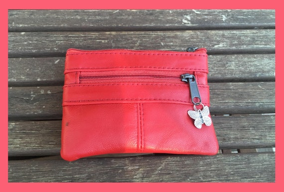 Small coin purse in RED. Genuine leather wallet. Purse for coins, cards and bills. Zipper close leather wallet. Red leather purse.