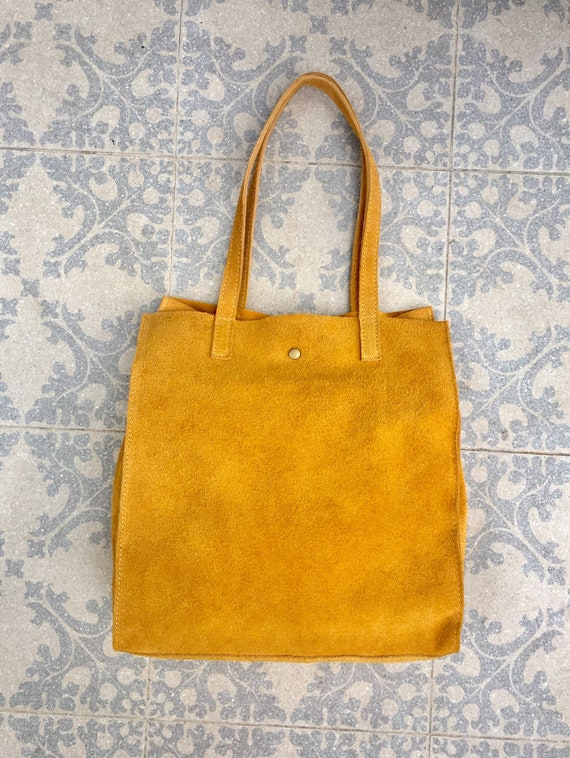 TOTE leather bag in mustard YELLOW. Soft natural suede leather bag. Boho bag. Mustard yellow suede bag. Bag for laptop, tablet, books...