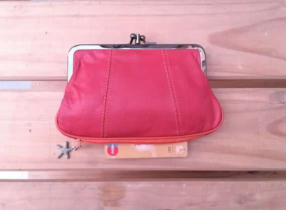 Genuine leather clip purse in CORAL RED. Retro leather purse, clip purse in soft  RED  leather.  Coral red wallet with metallic clasp.