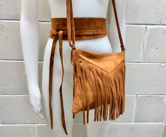 Cross body bag. BOHO suede leather bag in CAMEL brown  with FRINGES and suede waistbelt.Hippy suede bag and belt set in tan brown