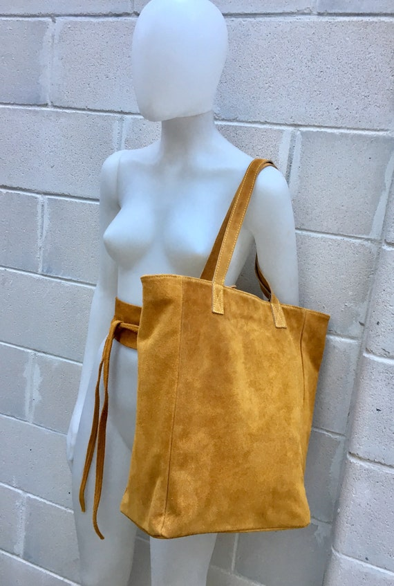 Large TOTE leather bag in mustard YELLOW .Soft natural suede genuine leather bag. Boho bag.  Yellow suede bag. Laptop  bag in suede.