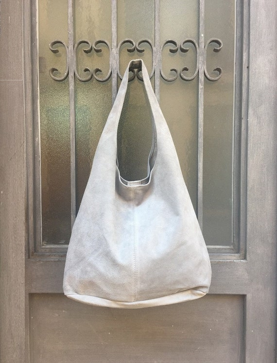 Large SLOUCH leather bag in light GRAY. Suede tote bag. Soft natural suede genuine leather bag. Boho bag. Grey suede bag. Laptop or book bag