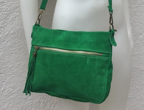 BOHO  suede leather bag in GREEN. Crossbody bag in genuine leather, messenger suede bag. Soft natural leather bag in green
