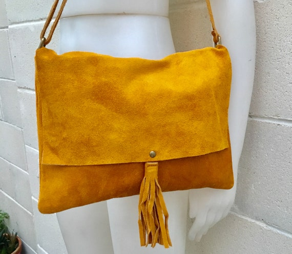 Cross body bag. BOHO suede leather bag in MUSTARD YELLOW. Soft genuine suede leather. Crossover, messenger bag in suede. Festival,small bags