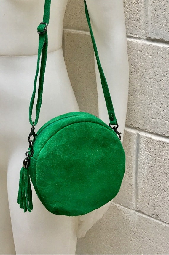 Round cross body bag, small suede bag in GREEN.  Adjustable strap + zipper. Small shoulder or cross over bag. Boho, festival bag in GREEN