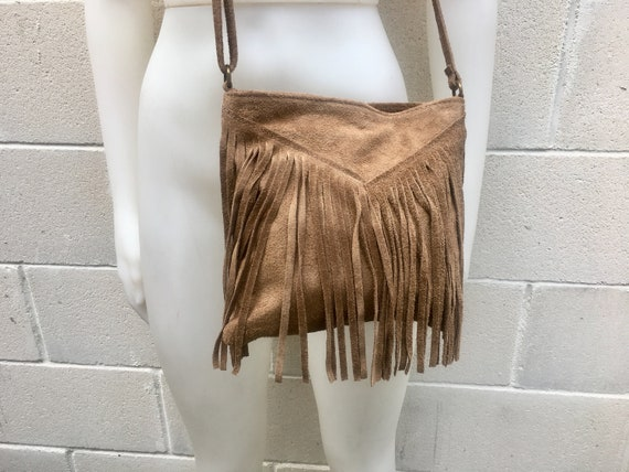 Cross body bag. BOHO suede leather bag in dark beige with FRINGES. Messenger bag in soft  genuine suede leather. Crossbody hippy bag