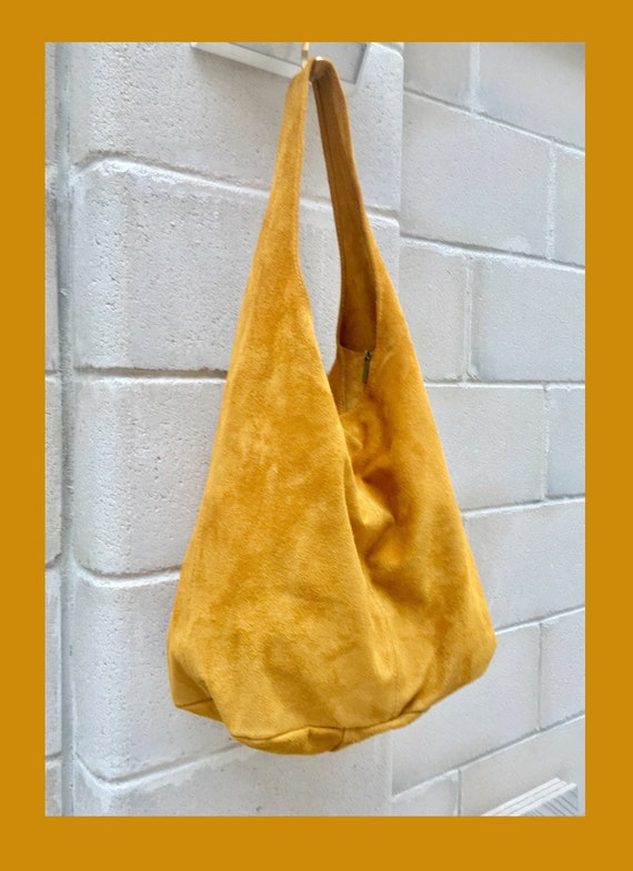 Slouch bag with ZIPPER. Tote leather bag in MUSTARD yellow. Soft natural suede, genuine leather bag.MUSTARD yellow suede bag.Hobo,laptop bag
