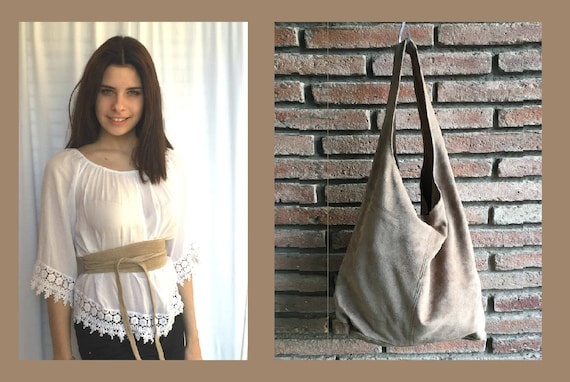 Large TOTE leather bag in light BEIGE with matching OBI belt . Soft natural suede leather bag. Bohemian bag. beige suede bag.