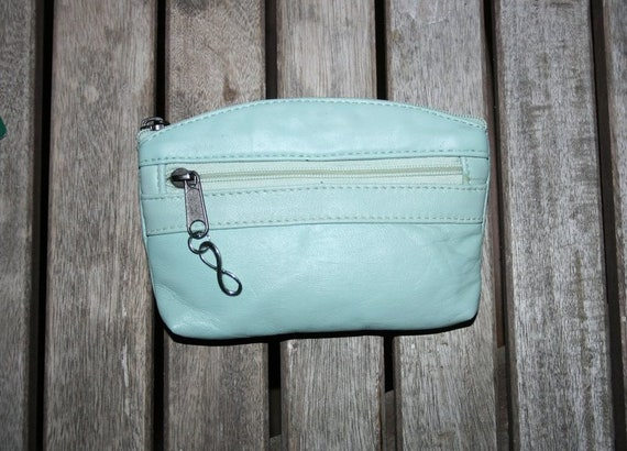 Small purse in AQUA, genuine leather, closed by 3 zippers. Fits credit cards, coins, bills. LIGHT GREEN leather wallet.