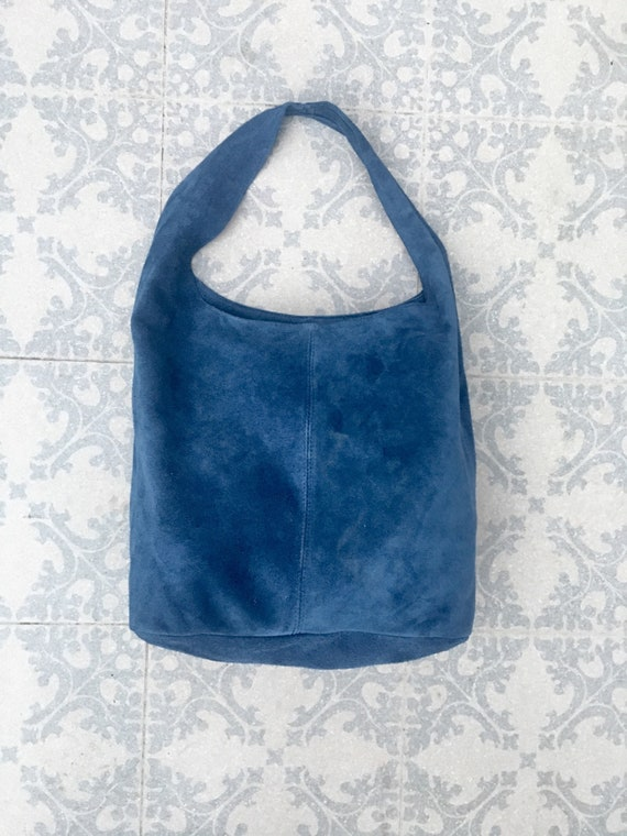 Large TOTE leather bag with ZIPPER in blue. Soft natural suede genuine leather bag. Bohemian bag. Blue suede bag. TOTE  bag