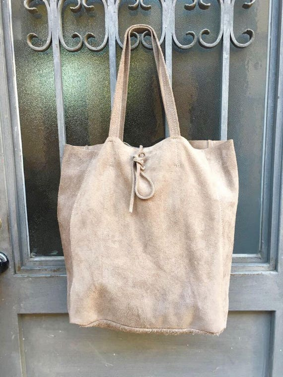 Large TOTE leather bag in BEIGE Soft natural suede genuine leather bag. Bohemian bag.  Taupe suede bag . Laptop  bag in beige suede.