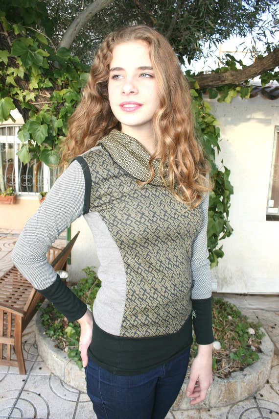 Cowl neck sweater, aztec geometric sweater, sweatshirt, black and mustard fitted sweater,mod, jumper,patchwork sweater, aztec,boho sweater,