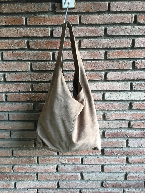 Large TOTE leather bag in medium BEIGE. Soft natural suede leather bag. Bohemian bag. BEIGE suede bag.