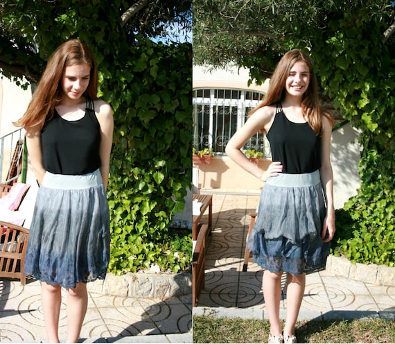 SILK skirt, boho skirt, bohemian layered skirt, silk and lace skirt in khaki gray and blue,ombre dip dyed, summer skirt, romantic