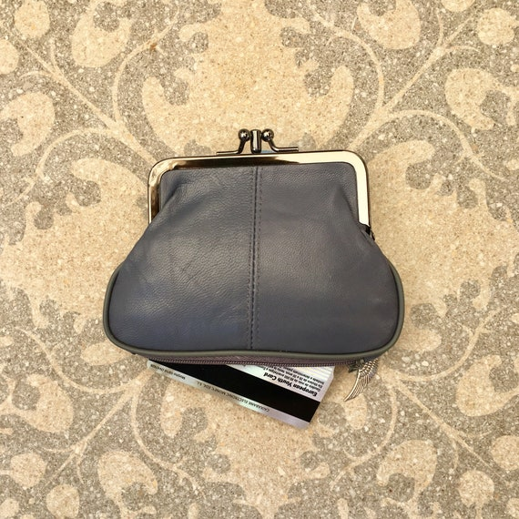 Vintage style kiss lock purse in genuine leather. Coin purse in GRAY. Metallic frame  wallet for coins , bills and credit cards.