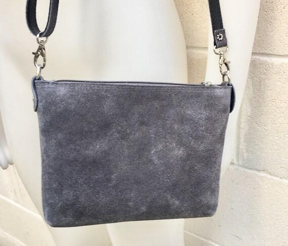 Suede leather bag in dark GRAY. Cross body bag, shoulder bag in GENUINE  leather. Small leather bag in  dark GRAY