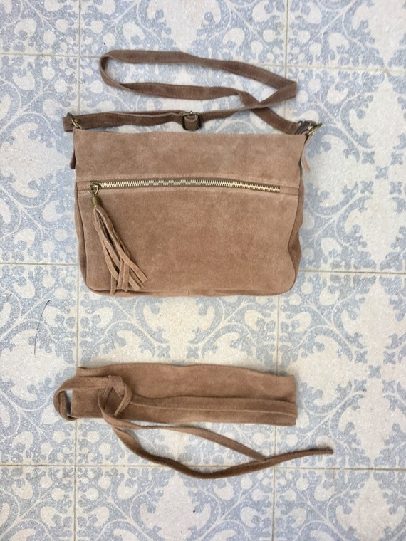BOHO  suede leather cross body bag in dark BEIGE with matching belt. Soft natural leather bag and belt. Genuine suede leather messenger bag.