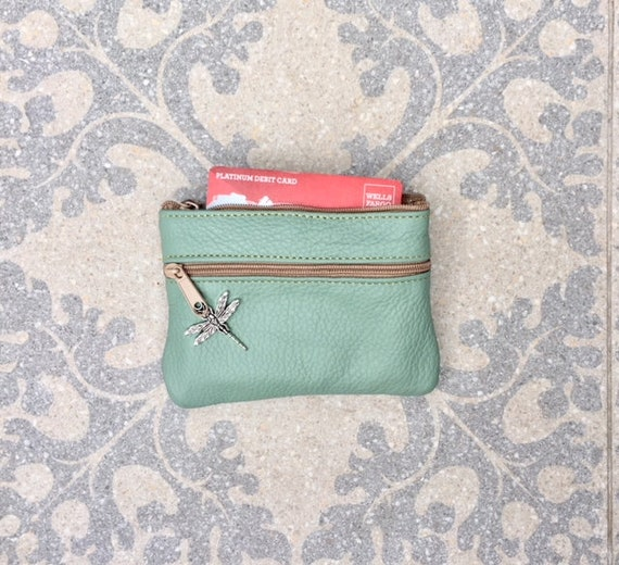 Small purse in AQUA color, genuine leather, 4 zippers. Fits credit cards, coins, bills. Light blue-green leather wallet with DRAGONFLY charm