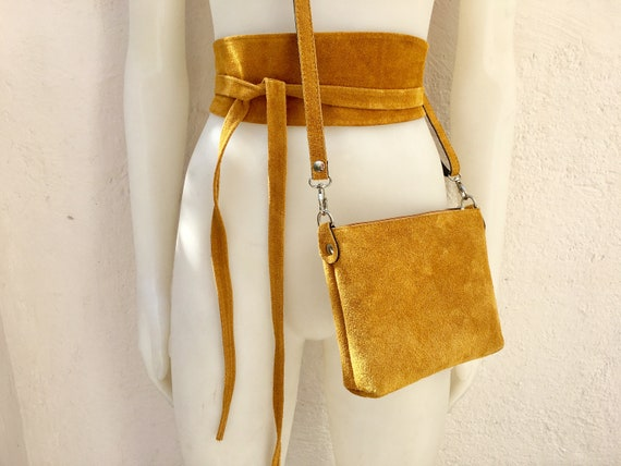 Small suede  bag in MUSTARD  YELLOW  with matching belt. Cross body bag and OBI belt set in suede leather. Adjustable strap and zipper