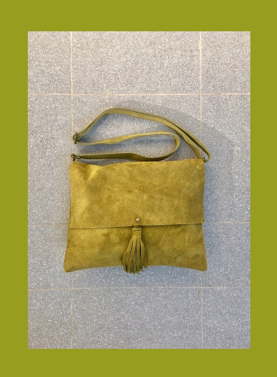 Cross body bag. BOHO suede leather bag in MOSS green . Soft suede,  genuine leather bag. Crossover, messenger bag in green suede.