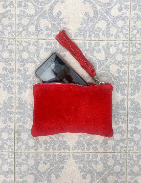 Small genuine suede leather BAG in RED. iPhone case, Cosmetic bag, Make up bag,Purse in soft PINK suede. Party clutch with tassel
