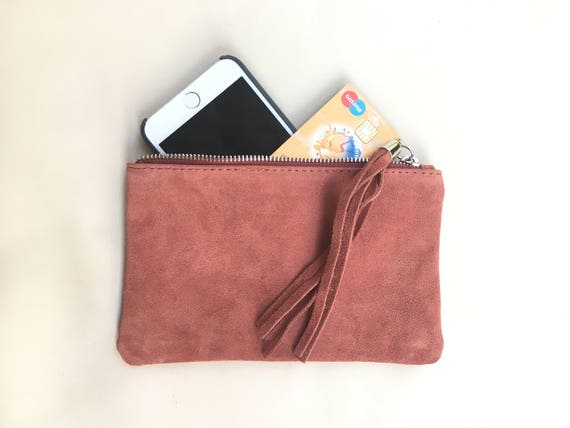 Small genuine suede leather BAG in powder PINK, iPhone case, Cosmetic bag, Make up bag,Purse in soft PINK suede. Party clutch with tassel