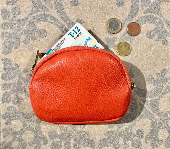 Orange leather coin purse. Genuine leather zipper wallet in burnt ORANGE. Small cosmetics bag with gold zipper. Orange leather pouch.
