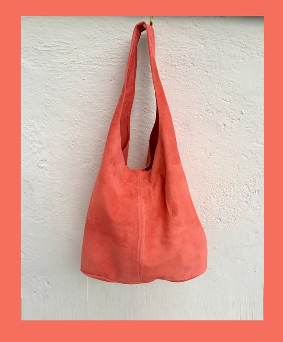 Slouch bag.Large TOTE leather bag CORAL red. Soft natural suede leather bag. Bohemian bag. Laptop or book bag. Genuine leather bag