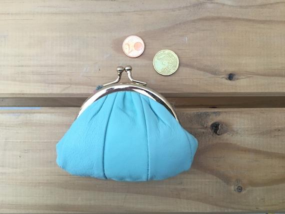 Small coin purse. Genuine leather clip purse. Aqua blue