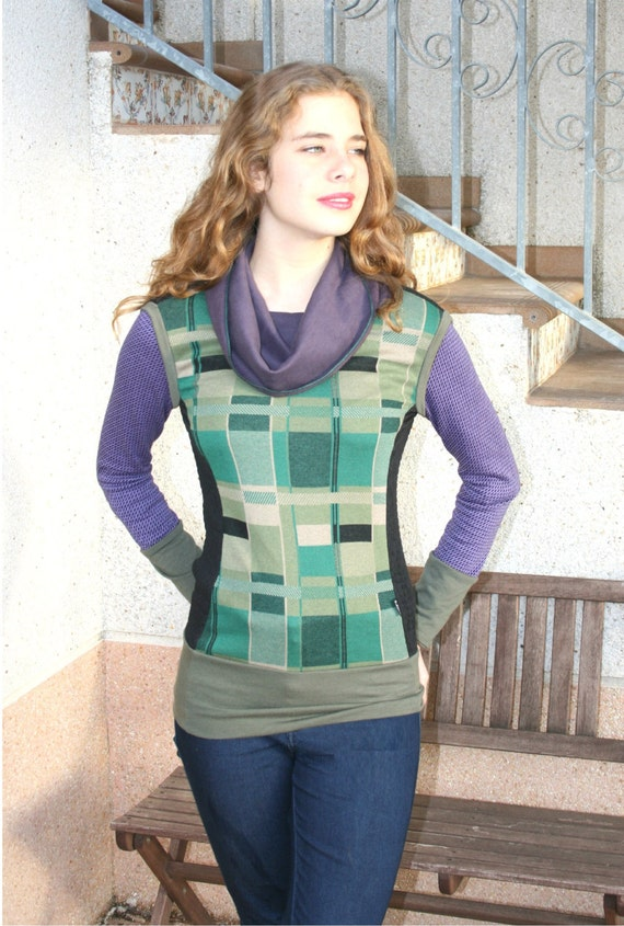 Cowl neck sweater, geometric sweater, geometric sweatshirt, green,purple,black fitted sweater,mod, jumper,patchwork sweater, mondrian, yoga