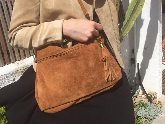 BOHO  suede leather bag in camel BROWN. Soft genuine leather bag with tassel. Brown cross over bag,boho bag, crossbody bags in brown.