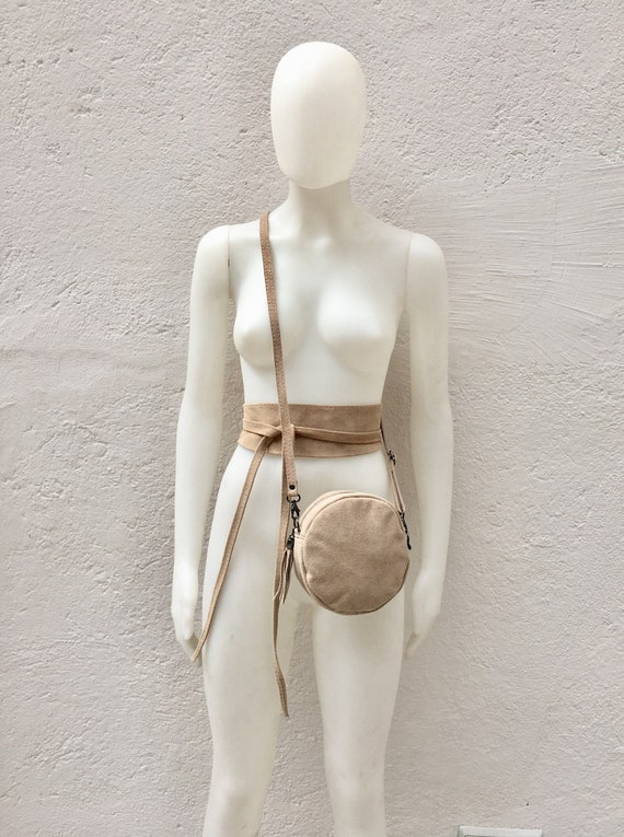 Round cross body bag, small suede bag in BEIGE  with matching belt.Bag and OBI belt set in suede leather.Adjustable strap + zipper