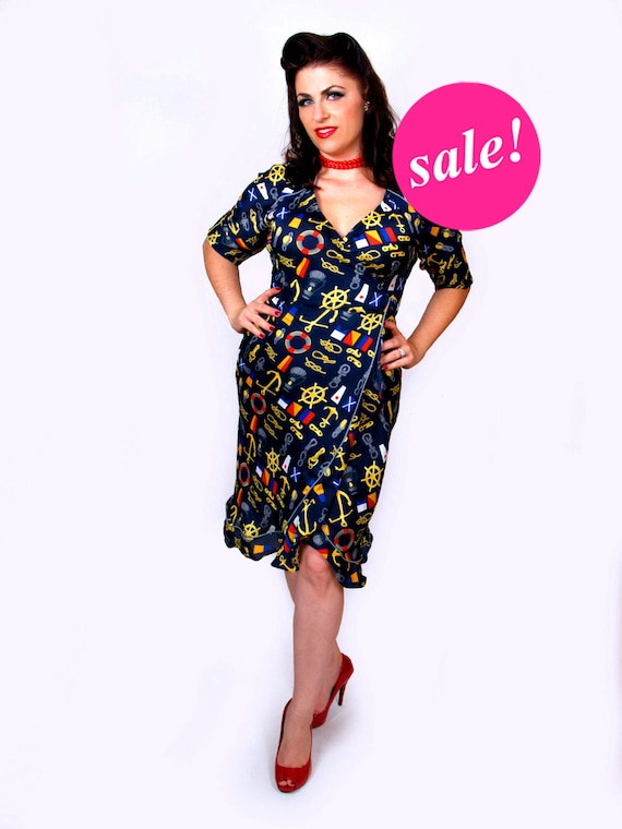 Sailor dress, retro 40 s wraparound dress,SALE, 50s, NaVy dress, sailor, v-neck, MAD MEN, rockabilly, short sleeves,
