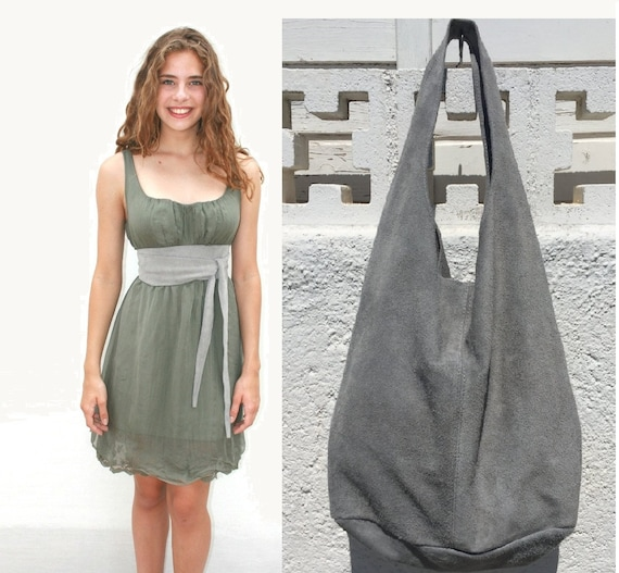 Large TOTE leather bag in light GRAY  with OBI waistbelt. Soft natural suede leather bag and matching belt. Bohemian bag. Grey suede bag.