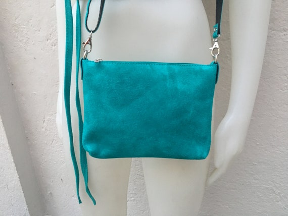 Suede leather bag in TURQUOISE. Cross body bag, shoulder bag in GENUINE  leather. Small leather bag with adjustable strap and zipper.