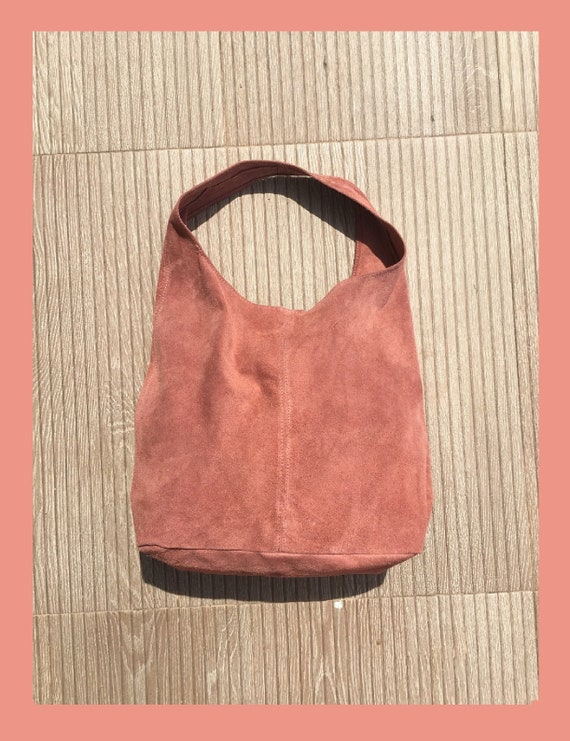 Large TOTE leather bag in PINK. Slouch bag made with soft natural suede, genuine leather bag. Boho bag.Dusty pink suede bag.Hobo, laptop bag