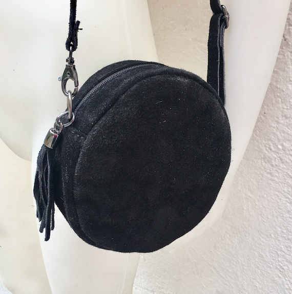 Round cross body bag, small suede bag in BLACK  Adjustable strap + zipper. Small shoulder or cross over bag. Boho, festival bag.