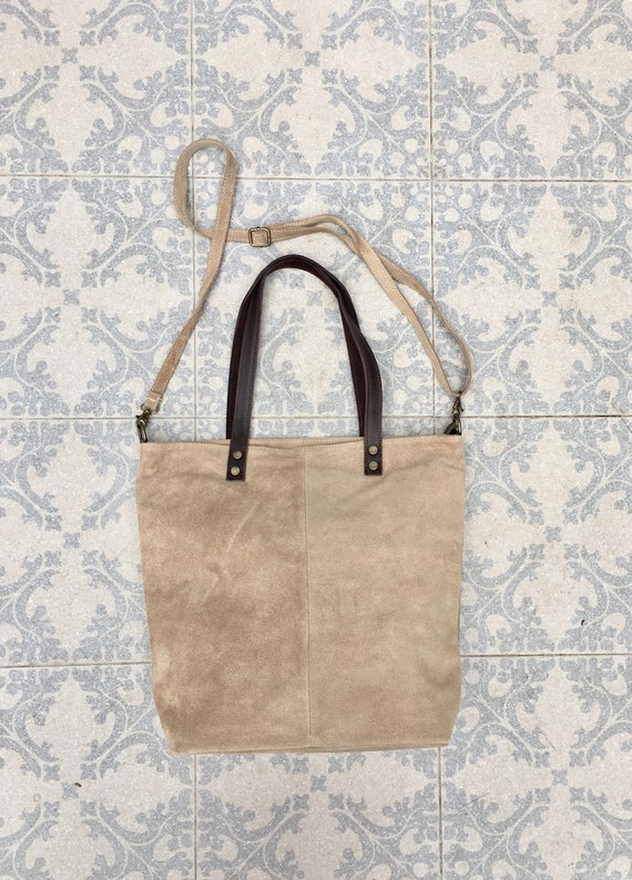 Large TOTE leather bag in light beige.Soft natural suede genuine leather bag in BEIGE suede bag. Laptop  bag in suede. Large crossbody bag.