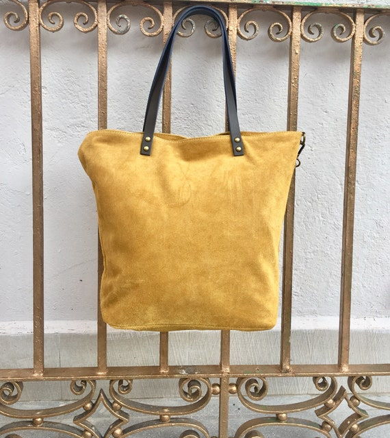 Large TOTE leather bag in MUSTARD yellow. Soft  suede, genuine leather bag. Yellow suede bag. Laptop bag in suede. Large cross body bag