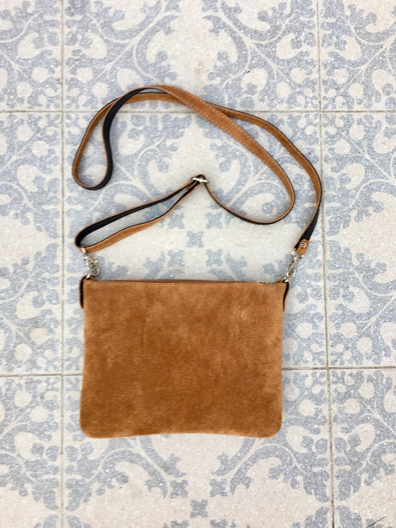 Suede leather bag in  CAMEL brown. Cross body bag, shoulder bag in GENUINE  leather. Small leather bag with adjustable strap and zipper.