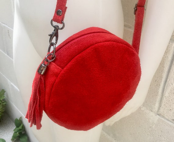 Round cross body bag, small suede bag in RED.  Adjustable strap + zipper. Small shoulder or cross over bag. Boho, festival RED bag in