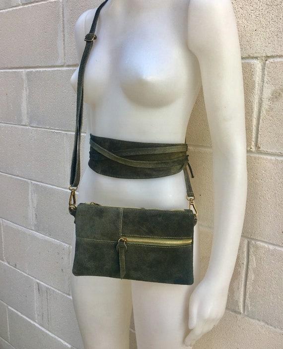 BOHO suede leather bag and obi  belt in dark GREEN. Soft natural leather bag. Genuine suede set of CROSSBODY bag and belt.