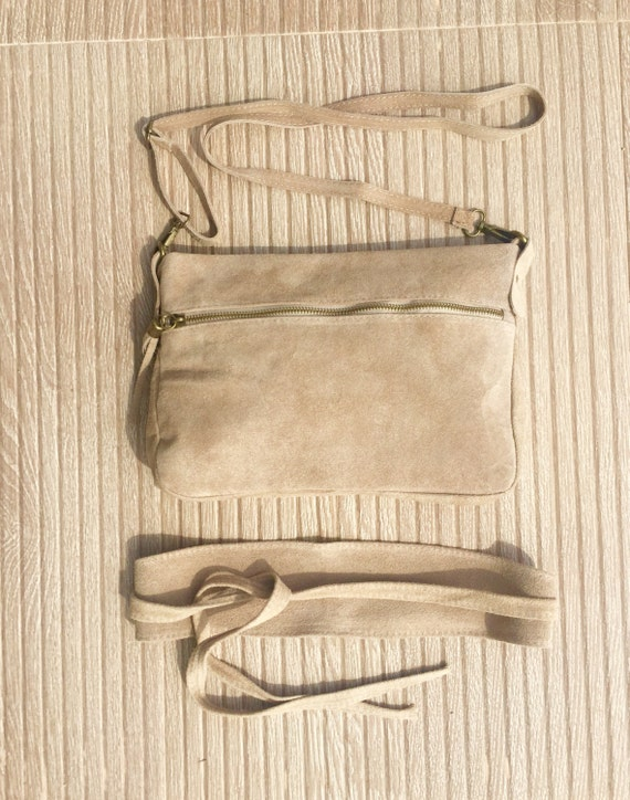 BOHO  suede leather bag in light BEIGE with matching belt. Cross over GENUINE  leather bag with tassel and waistbelt set. Boho festival bag