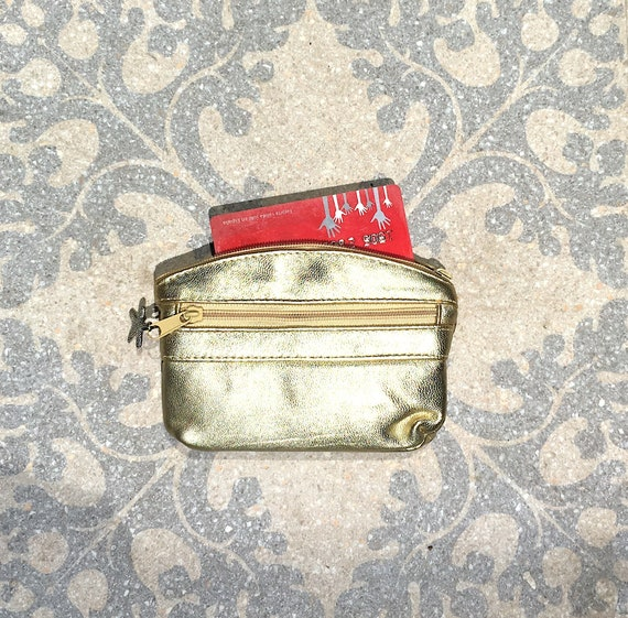 Small purse in GOLD, genuine leather, closed by 3 zippers. Fits credit cards, coins, bills. GOLD leather wallet.