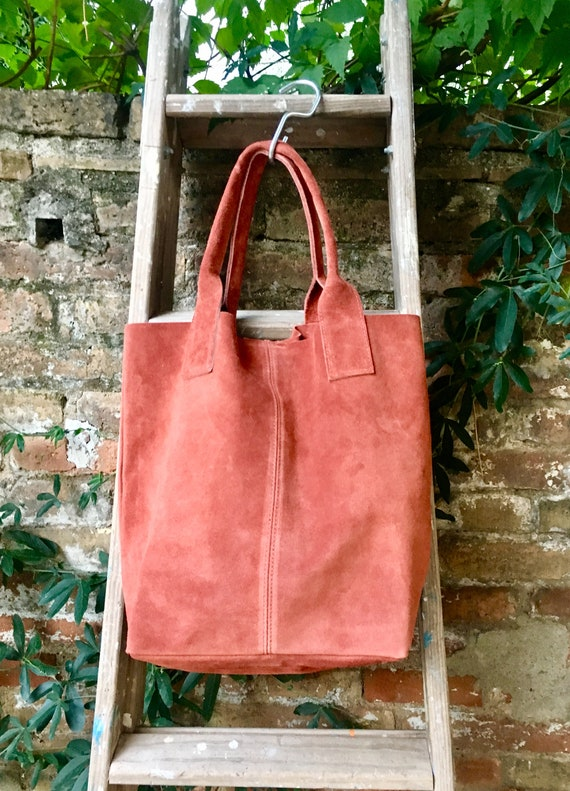TOTE leather bag in burnt ORANGE. Soft natural suede leather bag. Boho bag. DARK orange  suede bag. Bag for laptop, tablet, books...