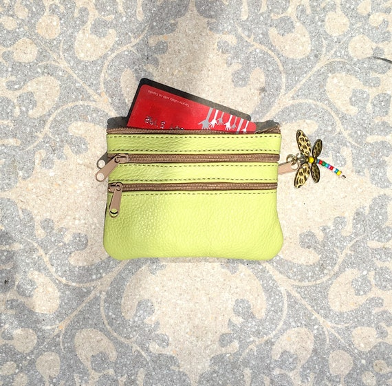 Small purse in LIME GREEN, genuine leather, closed by 3 zippers. Fits creditcards, coins, bills. GREEN leather wallet.